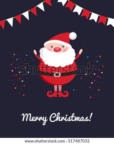 Cute Santa Claus on dark Christmas ornament background with confetti - stock vector
