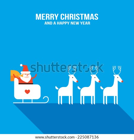 Cute Santa Claus with presents, sledge and deers. New Year, Holiday greeting card, banner design template. Vector illustration - stock vector