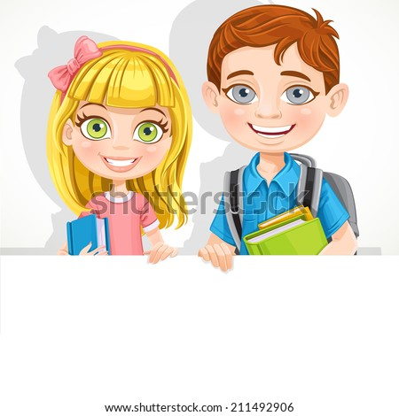 Cute school boy and girl with textbooks and backpack hold a big banner