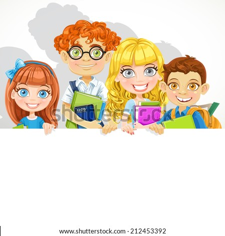 Cute school boys and girls with textbooks and backpack hold a big banner - stock vector
