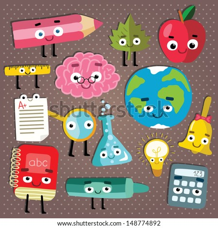 cute school characters set. back to school illustration - stock vector