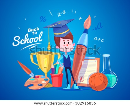 Cute School Children. School activities. Back to School isolated objects on blue background. Great illustration for a school books and more. VECTOR. - stock vector