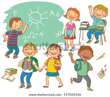 Cute School children.  School activities. Back to School isolated objects on white background. Great illustration for a school books and more. VECTOR. - stock vector