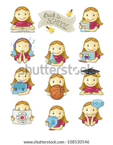 Cute School Girl Icons Vector Set - stock vector