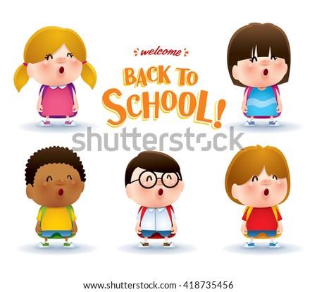 Cute school kids - stock vector