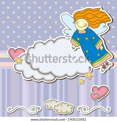 Cute scrap set with angel and clouds - stock vector