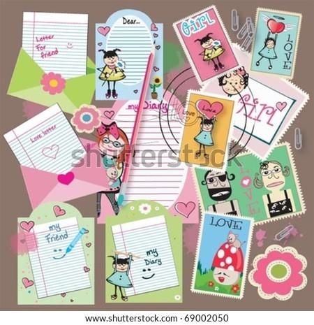 CUTE Scrapbook elements, vector. For girls! - stock vector