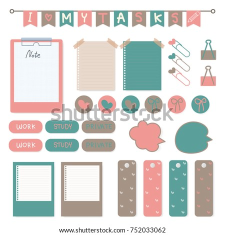Cute scrapbook elements with white background. Vector illustration.