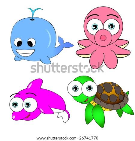 Cute Sea Animal Set - stock vector