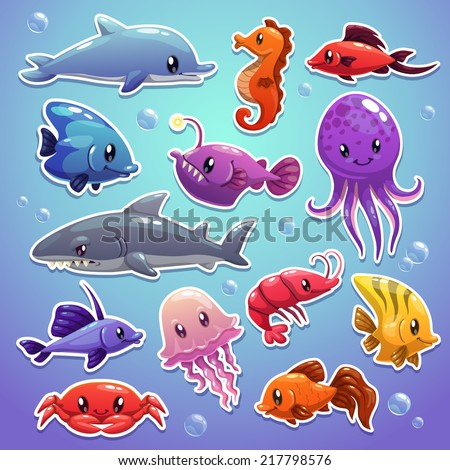 Cute sea animals, sticker illustrations - stock vector