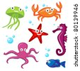 Cute Sea Creatures - stock vector