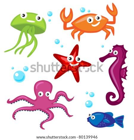 Cute Sea Creatures - stock vector