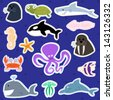 Cute Sea Creatures - Vector Illustration Set - stock vector
