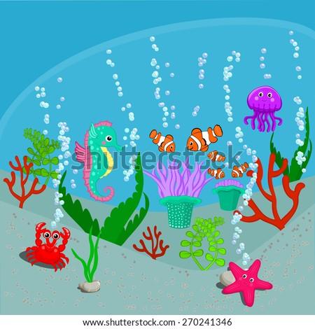 Cute sea life creatures cartoon animals Starfish, jellyfish, crab, sea anemone with clownfish, seahorse, corals and seaweeds vector illustration Under the sea animals vector illustration - stock vector