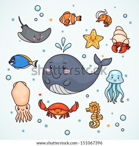 Cute sea life: shrimp, starfish, sea horse, jellyfish, fish, hermit crab, crab, squid, stingray, whale.