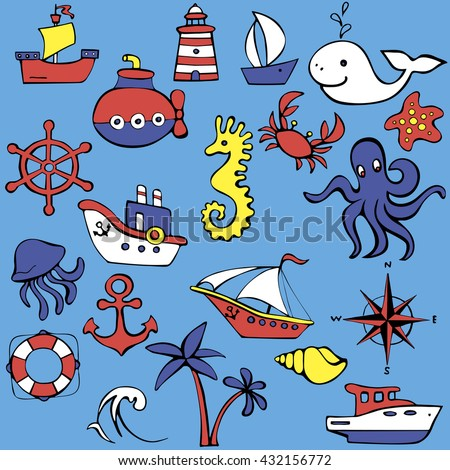 Cute sea objects collection. Hand drawn vector illustration.