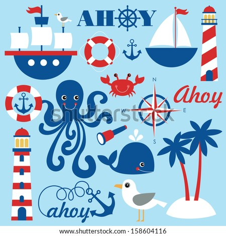 cute sea objects collection. vector illustration - stock vector