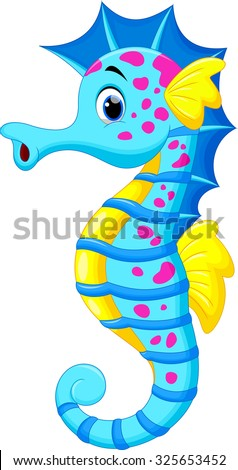Cute seahorse cartoon - stock vector