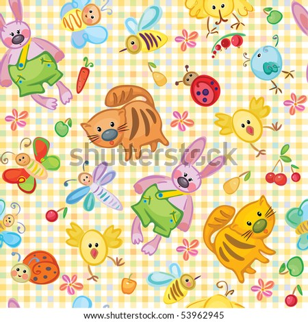 Cute seamless animal's pattern for your design.