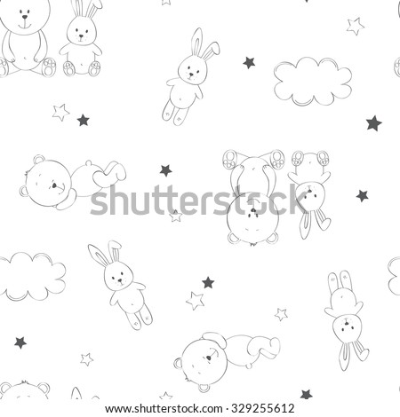 Cute seamless baby background for boy and for girl - stock vector