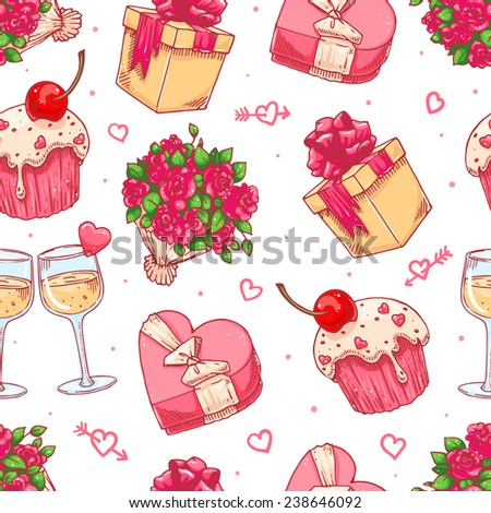 cute seamless background for Valentine's Day with a bouquet of roses, champagne glasses and gifts - stock vector