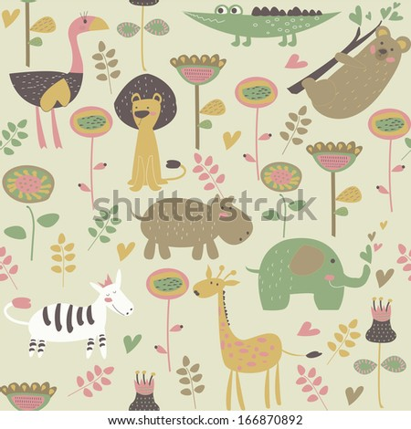 Cute seamless background with african animals and flowers. Zebra, ostrich, lion, koala, hippo, giraffe, elephant, alligator in cartoon style. - stock vector