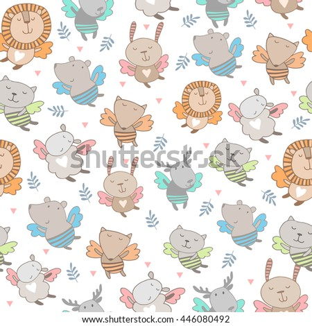 Cute seamless background with animals - stock vector