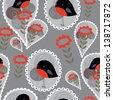 Cute seamless background with black and red birds, lace and flowers - stock photo