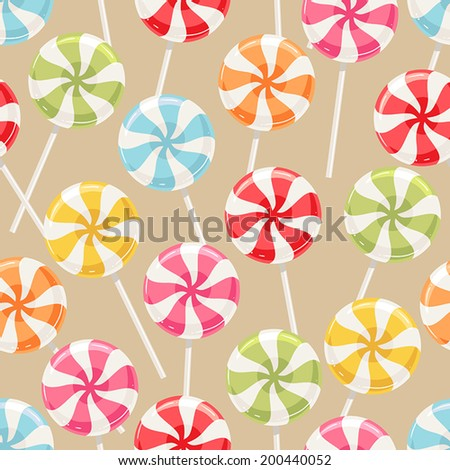 Cute seamless background with different color striped candy. vector illustration - stock vector