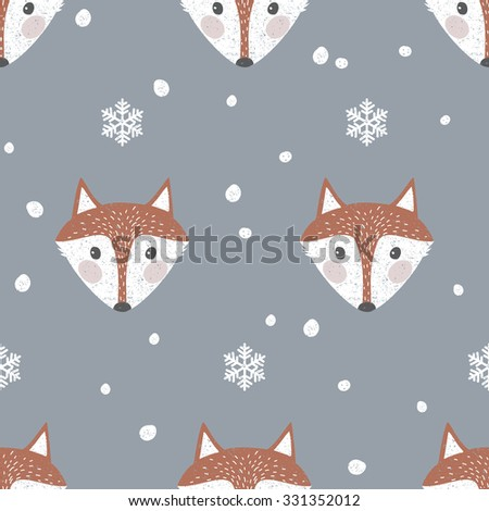 Cute seamless background with foxes and snowflakes - stock vector