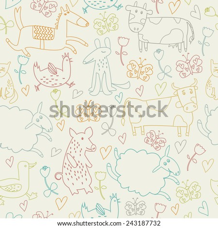 Cute seamless background with funny bunnies, birds, pig, cow, ox, butterfly, dog, cat, goose, duck, sheep, hen and horse in cartoon style. - stock vector