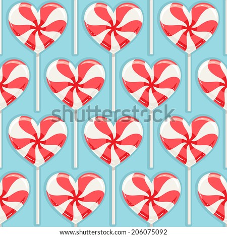 Cute seamless background with red and white striped candy hearts. vector illustration - stock vector