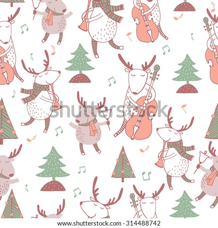 Cute seamless christmas pattern with holiday elements with deers and music. Lovely cartoon background.  - stock vector
