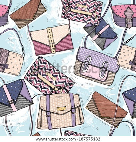 Cute seamless fashion pattern for girls or woman. Background with bags and purses. - stock vector