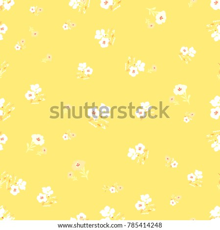 Cute Seamless Floral Pattern Simple Flowers Background For Fabric Wrapping Wallpaper Paper