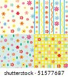 Cute seamless floral patterns set - stock vector