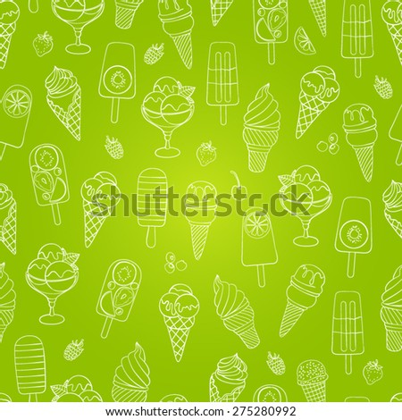 Cute seamless ice cream pattern. Vector seamless background - stock vector
