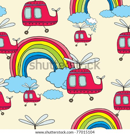 cute seamless patten with helicopter