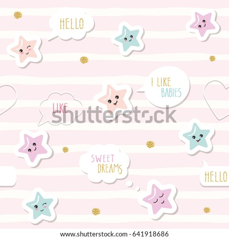 Cute seamless pattern background with cartoon kawaii stars and speech bubbles. For little girls babies clothes, pajamas, baby shower design. Pastel pink and glitter.
