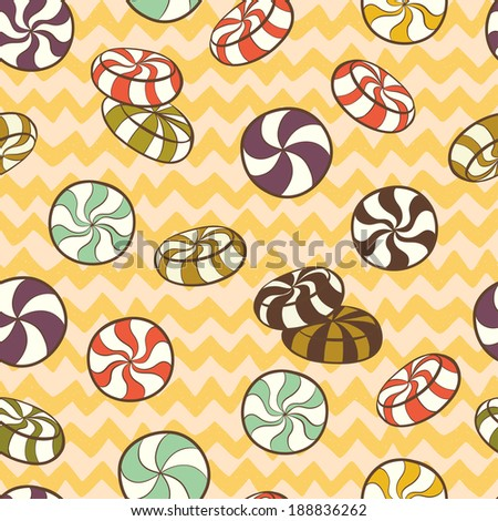 Cute seamless pattern made of hand drawn doodle caramel candies on chevron background. Cartoon sweets background. - stock vector