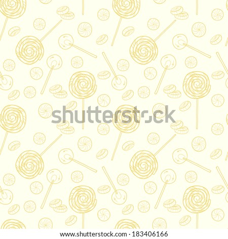 Cute seamless pattern made of hand drawn doodle caramel candies on light background. Cartoon sweets background. - stock vector