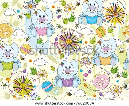Cute seamless   pattern of flora and rabbits. - stock vector