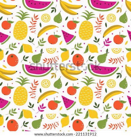 Cute Seamless Pattern Of Hand Drawn Sketchy Fresh Fruits Used For Kitchen Cafe Stuff
