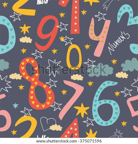 cute seamless pattern of numbers for children. learn to count concept - stock vector
