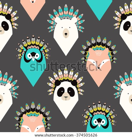 Cute seamless pattern with animals with feathers - stock vector