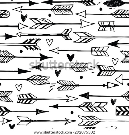 Cute seamless pattern with arrows and hearts. Can be used for desktop wallpaper or frame for a wall hanging or poster,for pattern fills, wedding decor, web page backgrounds, textile and more. - stock vector