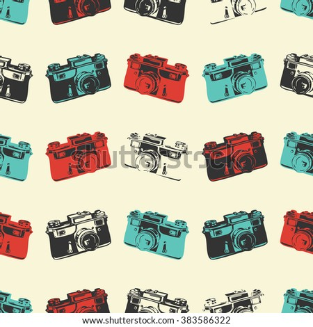 Cute seamless pattern with camera, retro background, retro camera, photograph seamless pattern,