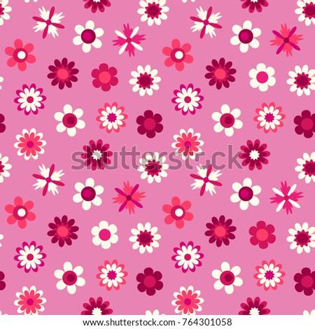 Cute seamless pattern cartoon flowers on stock vector 764301058 cute seamless pattern with cartoon flowers on a pink background vector seamless floral texture mightylinksfo