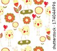 Cute seamless pattern with chicken, hearts and flowers - stock vector