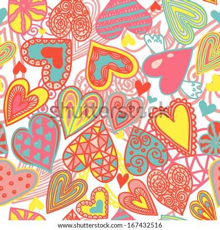 Cute seamless pattern with colorful hearts, vector illustration - stock vector